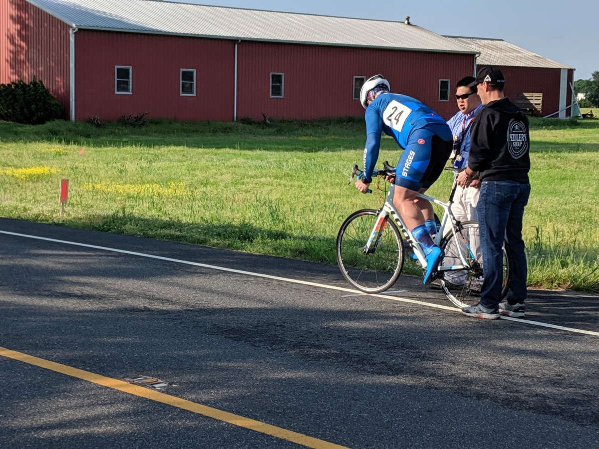 Launching out the gate at Oldmans Twp Time Trial 5/11