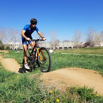 Riding Valmont Park next to Stages Boulder Office