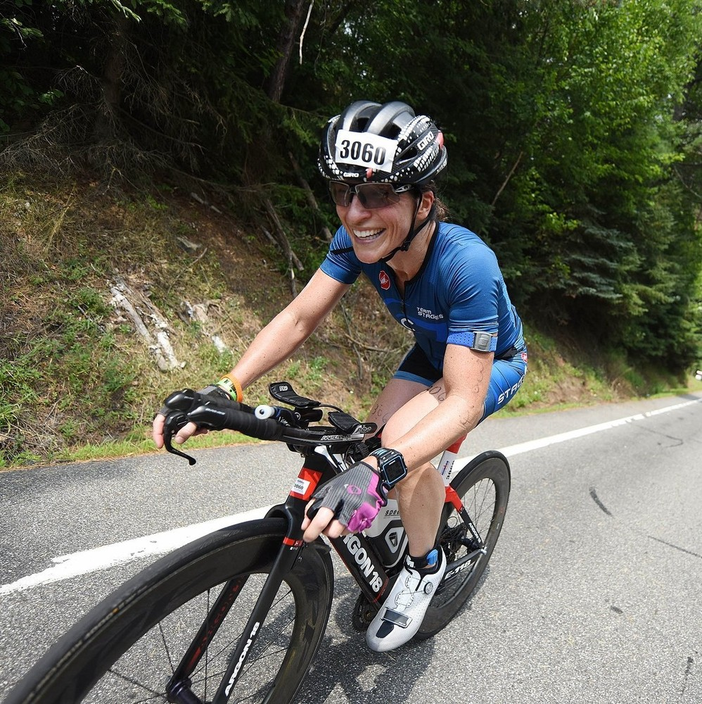 IM Lake Placid 112 mile bike. Just keep smiling! First IM distance race, July 2019.