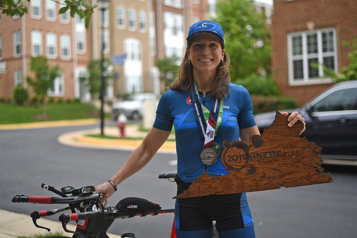 Kinetic Half Iron Tri, 2nd place overall for women. May 2019.